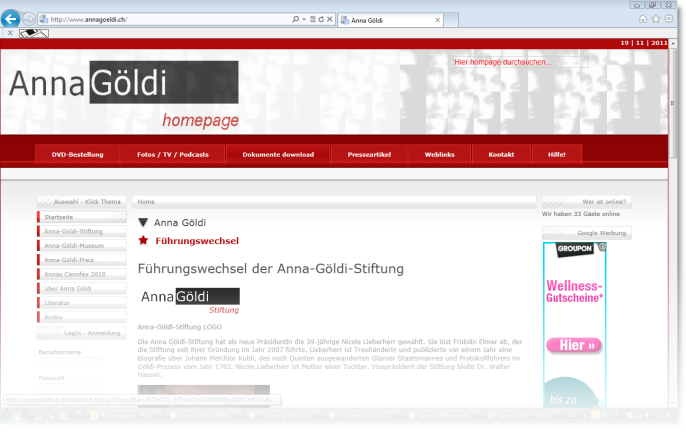Screenshot Anna-Göldi-homepage