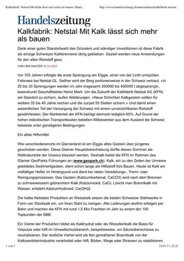 (Beilage 22) Bericht Handelszeitung Kalkfabrik  Netstal Mit Kalk lässt sich mehr als bauen