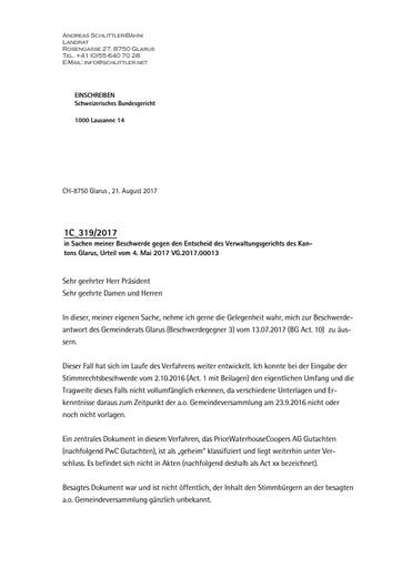 Stimmrechtsbeschwerde Schlittler Bundesgericht Replik auf Gemeindestellungnahme final 1 0