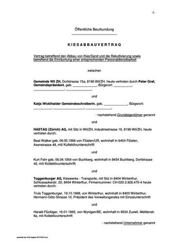 Gemeinde Wil ZH   HASTAG AG Entwurf Kiesabbauvertrag inkl  Anhange fur Aktenauflage