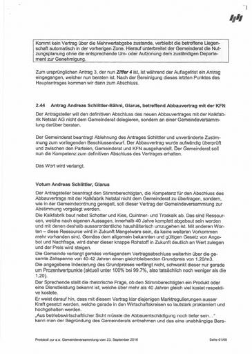 (Beilage 4) Stimmrechtsbeschwerde Schlittler Protokoll GdVersammlung 20160923 Auszug