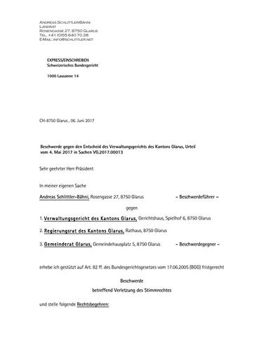 (BG) Stimmrechtsbeschwerde Schlittler, Weiterzug ans Bundesgericht (BG) Lausanne vom 6.6.2017