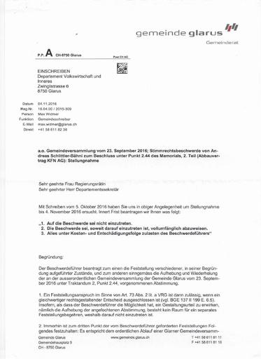 (Beilage 15 BG) Stimmrechtsbeschwerde Schlittler, Stellungnahme Gemeinde Glarus -> VDI
